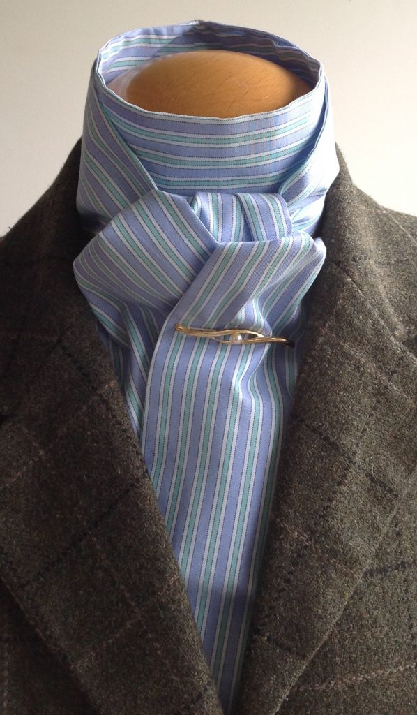 Shaped to tie 100% cotton stock - chambray multi stripe