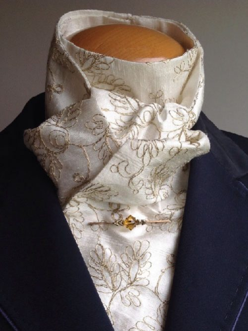 Shaped to tie 100% silk riding stock - ivory with gold floral stitch embroidery