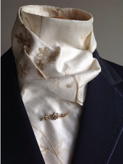 Shaped to tie 100% silk riding stock - ivory with gold colour and gold metallic floral embroidery