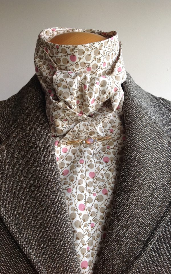 Shaped to tie tana lawn cotton stock - spotty berries sage and pink