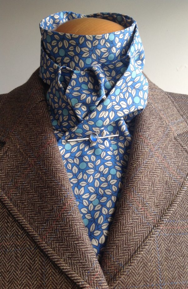 Shaped to tie tana lawn cotton stock - leaves and berries blue/aqua