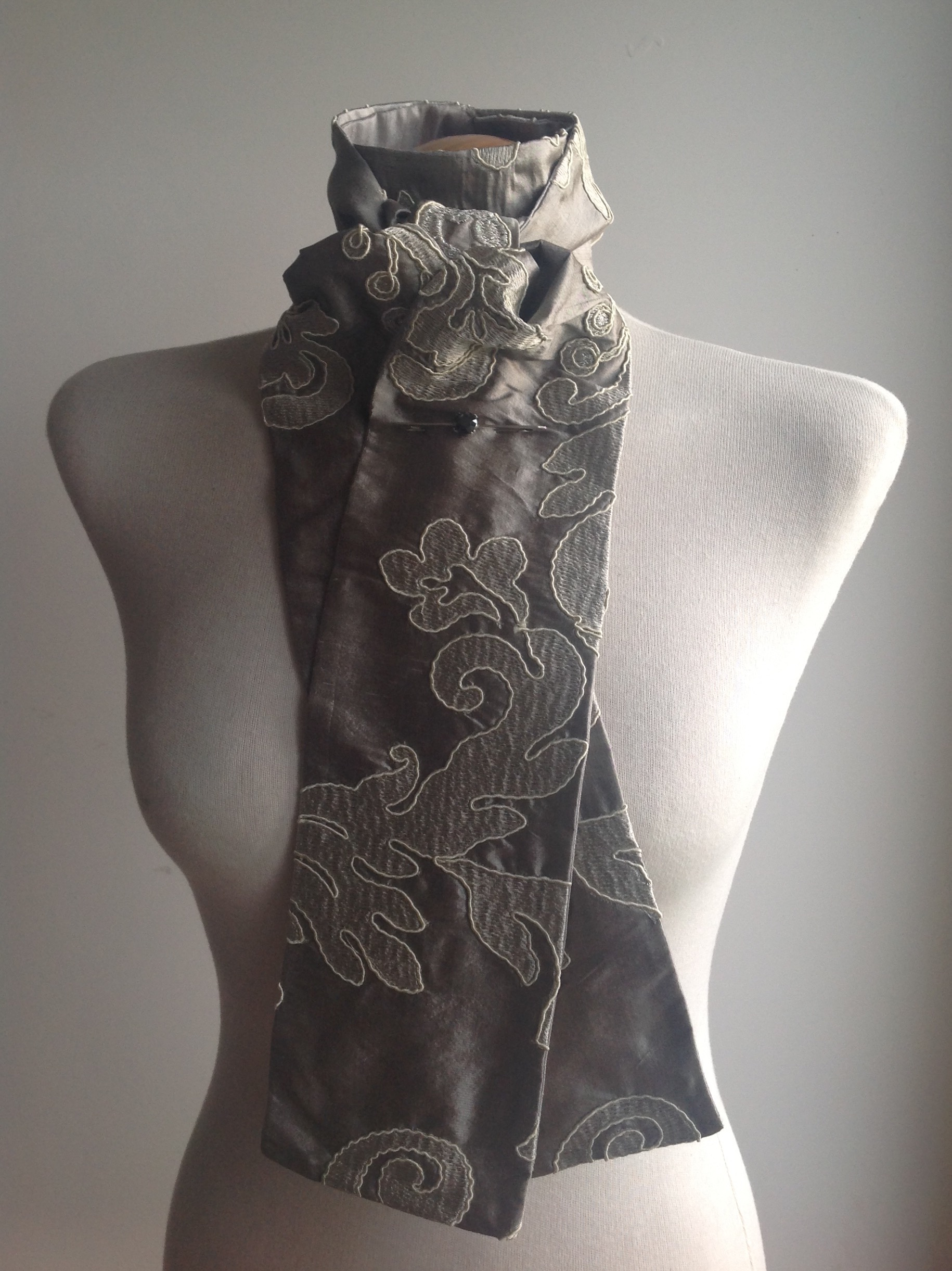 Shaped to tie 100% silk stock - pewter heavyweight Baroque floral embroidery
