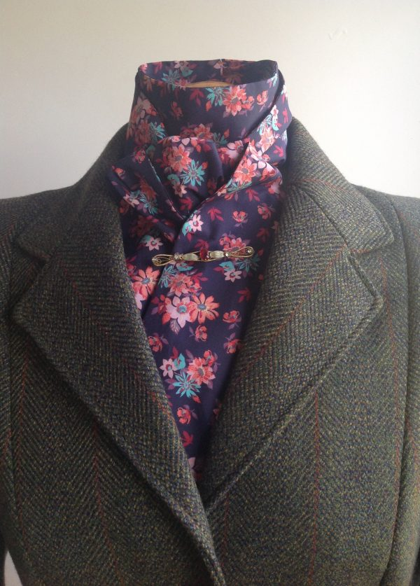 Shaped to tie tana lawn cotton stock - multi floral on navy
