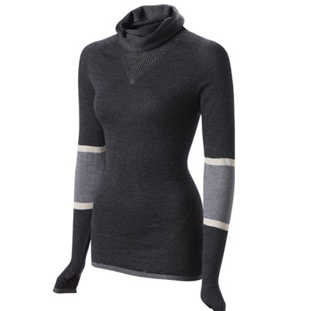 Findra Marin cowl neck stripe merino top in charcoal/slate
