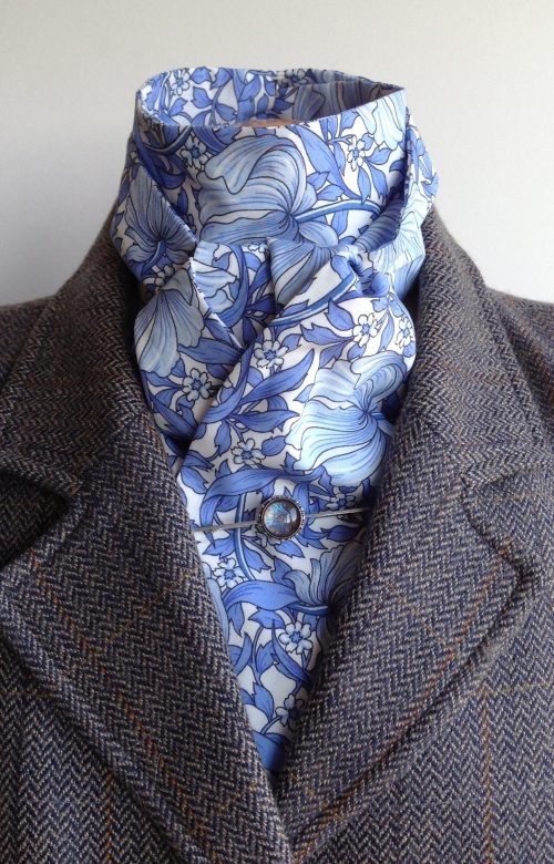 Shaped to tie tana lawn cotton stock - Pimpernel arctic blue colourway
