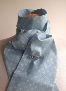 Shaped to tie 100% cotton stock - duck egg linear dot