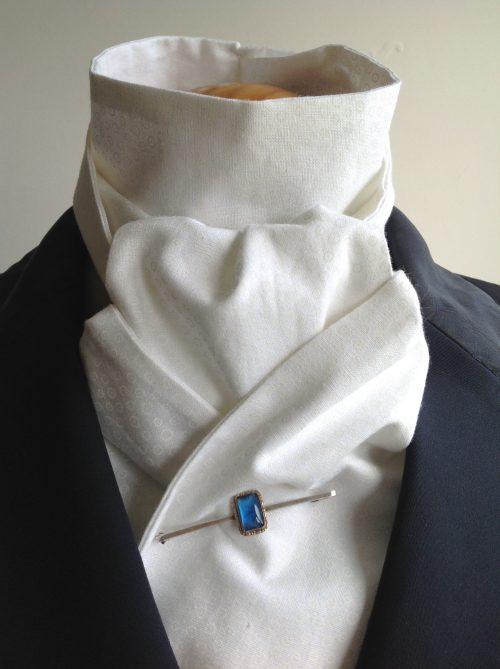 Shaped to tie 100% cotton stock - white on white tiny circles