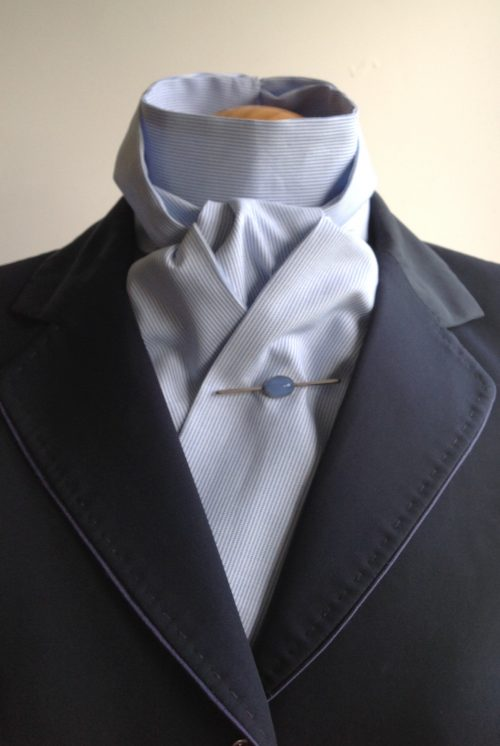 Shaped to tie 100% cotton stock - chambray blue fine stripe