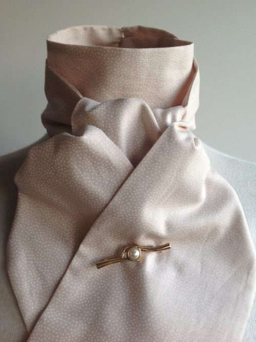 Shaped to tie 100% cotton stock - blush pink scattered polka