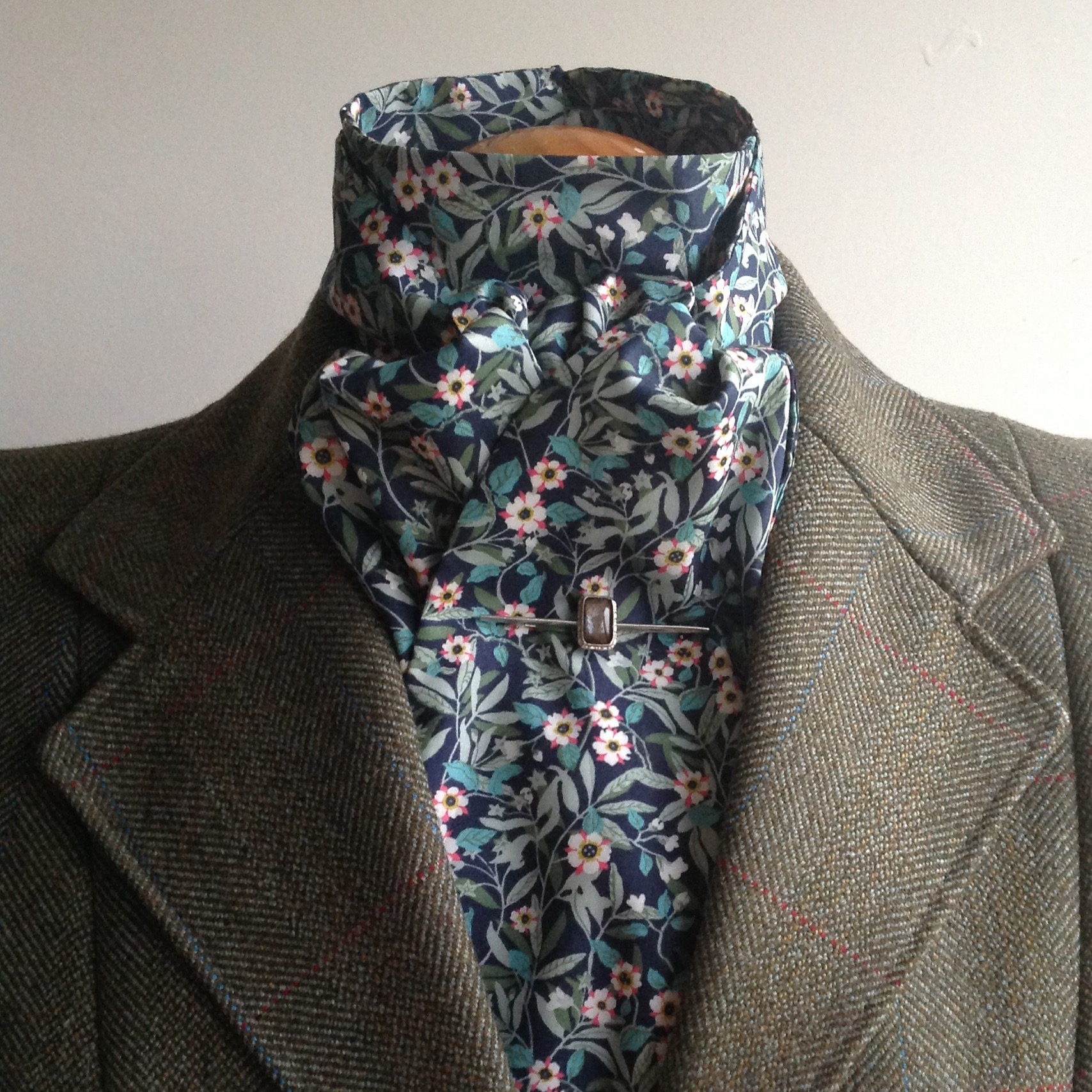 Shaped to tie Liberty tana lawn stock - Brighton Blossom design blue/green colourway
