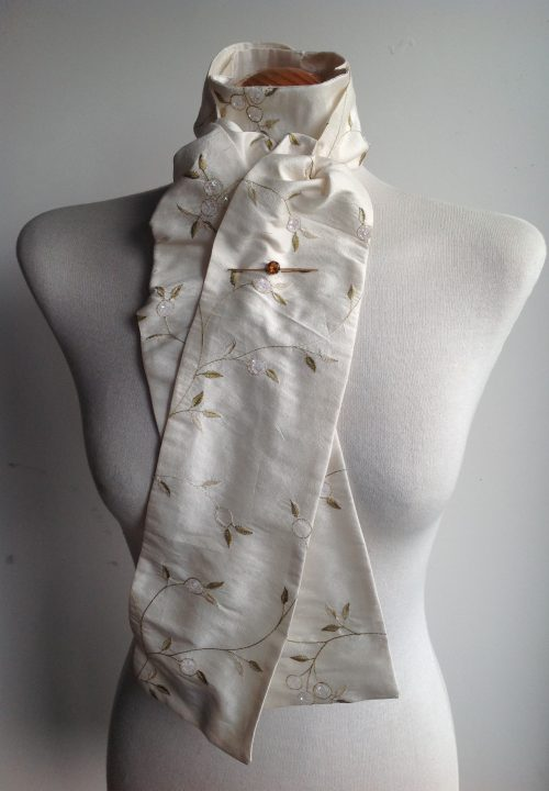Shaped to tie 100% silk stock - ivory with gold floral embroidery and aurora sequins