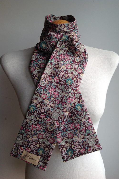 Shaped to tie Liberty tana lawn stock - Palmeira burgundy multi