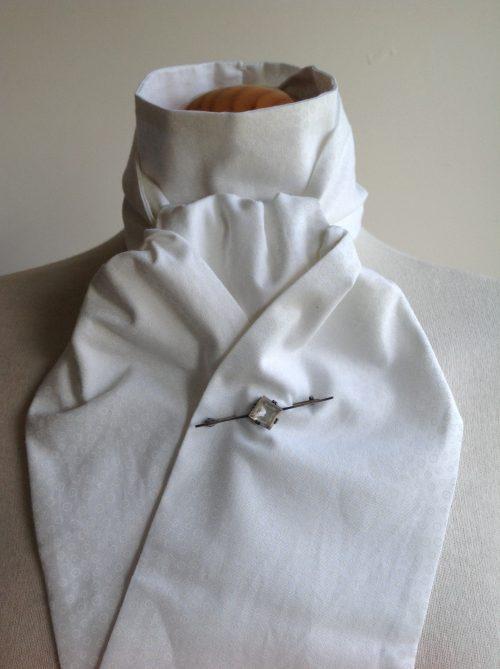 Shaped to tie 100% cotton stock - white on ecru tiny circles