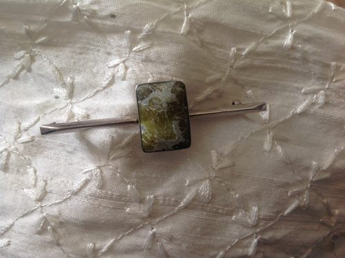 Vintage solid silver and Connemara marble stock pin