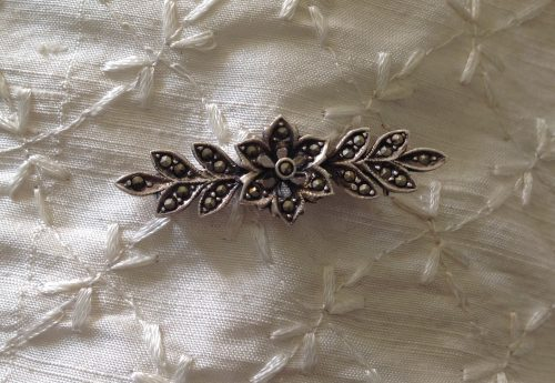 Vintage unmarked silver and marcasite floral stock pin