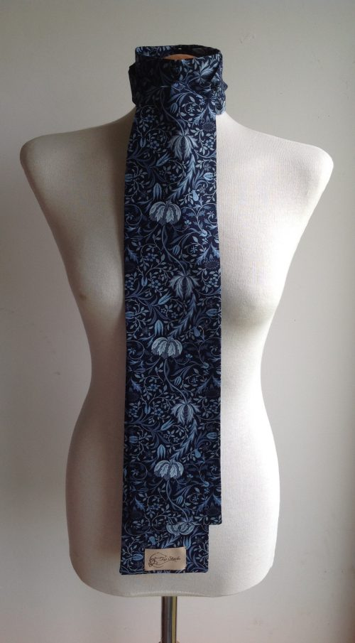 Shaped to tie 100%cotton stock - William Morris Floral blues