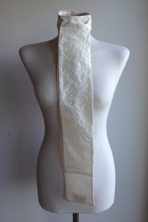 Shaped to tie 100% silk stock - ivory with self coloured embroidery and sequins
