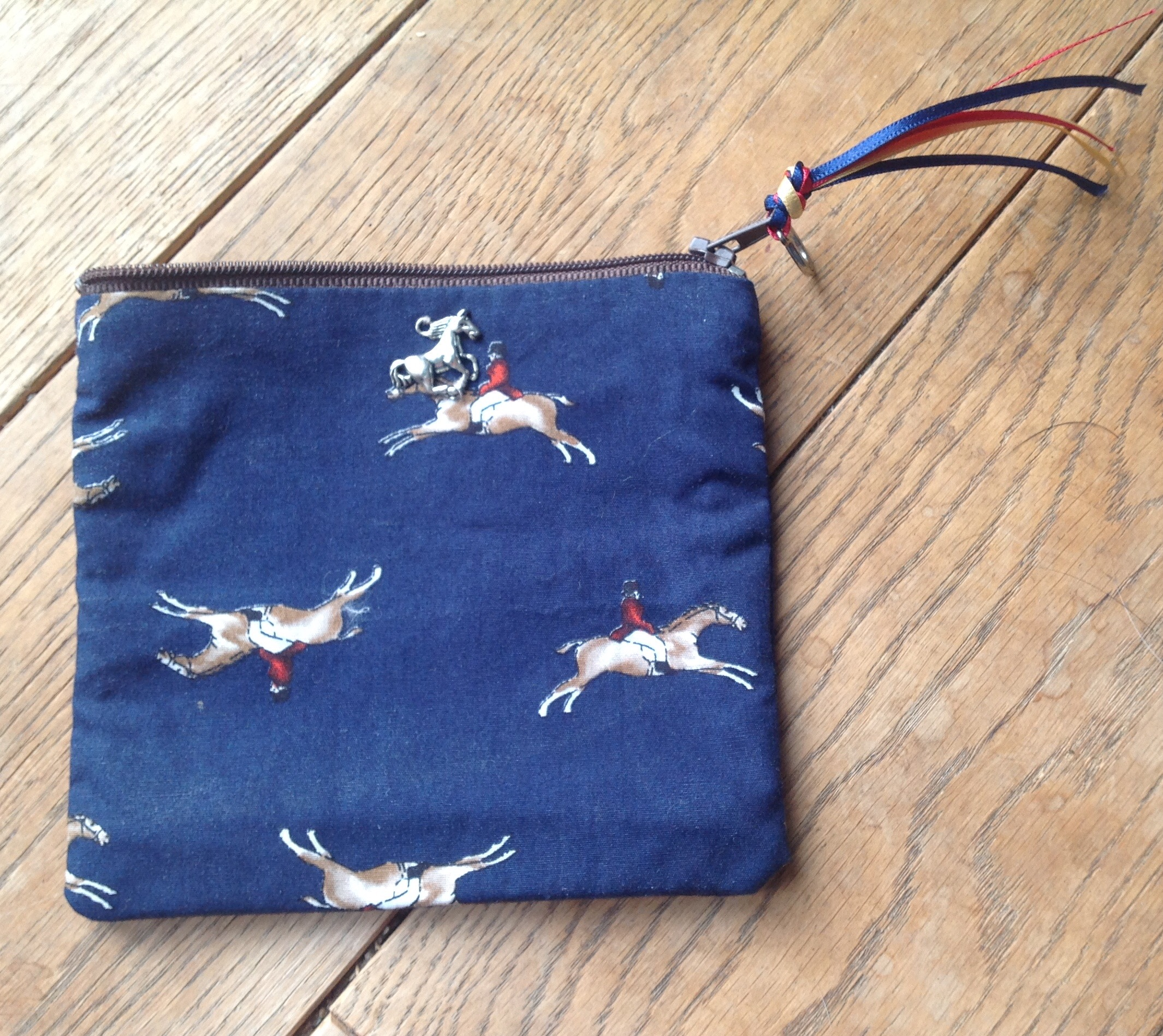 Coin purse - Gallop design in navy colourway