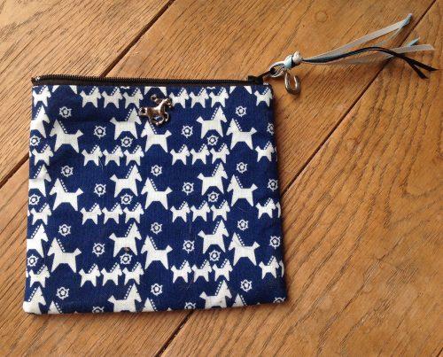 Coin purse- Scandi horse in navy/white colourway