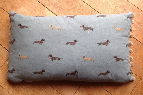 "Cushion cover - 12"" x 20"" Wire haired daschunds on duck egg blue background"