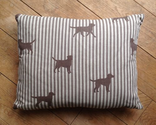"Cushion cover - 13"" x 17"" Chocolate labradors on ticking stripe"