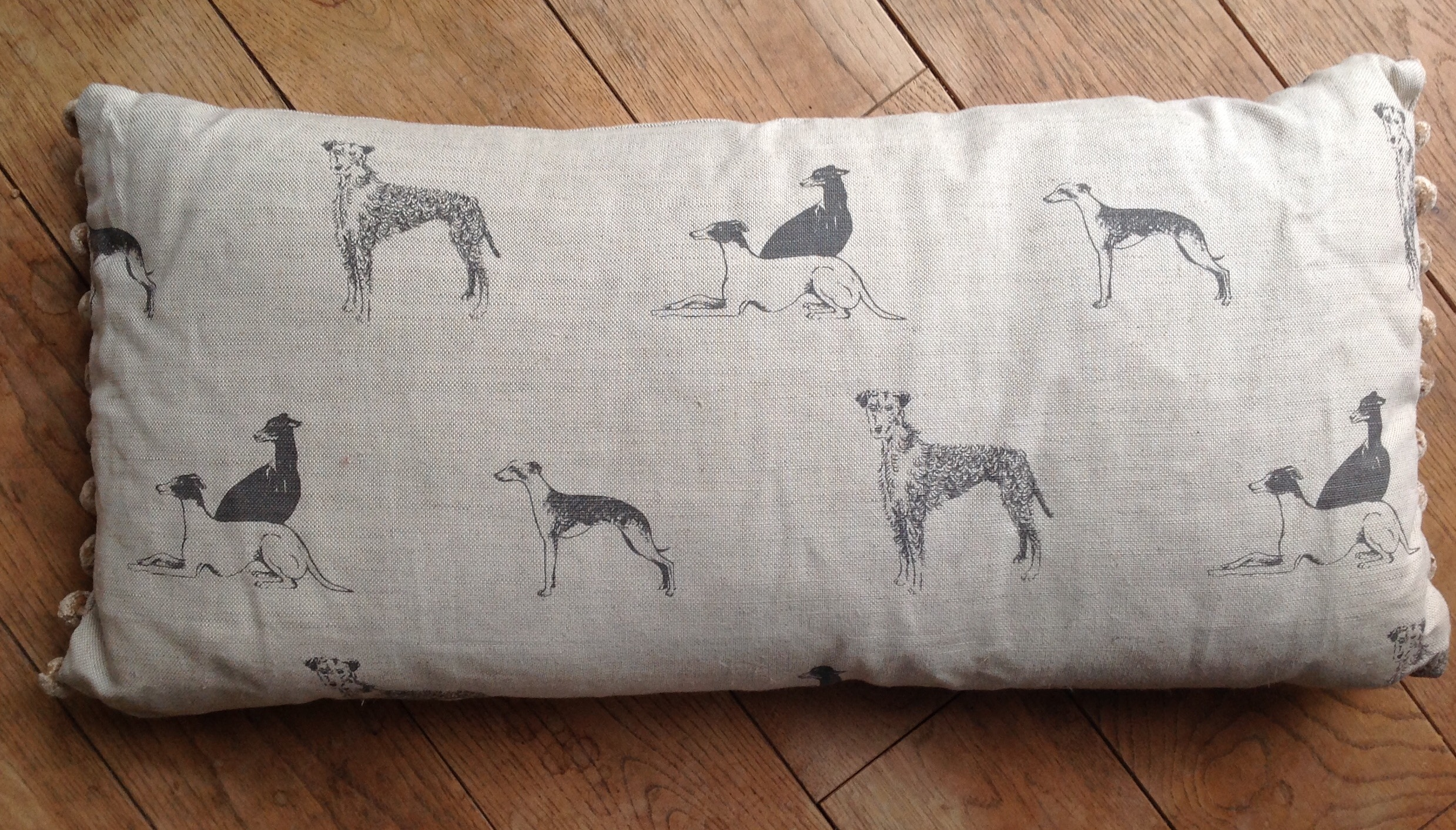 "Cushion cover - 12"" x 24"" Long Dog print with beige pom pom trim"