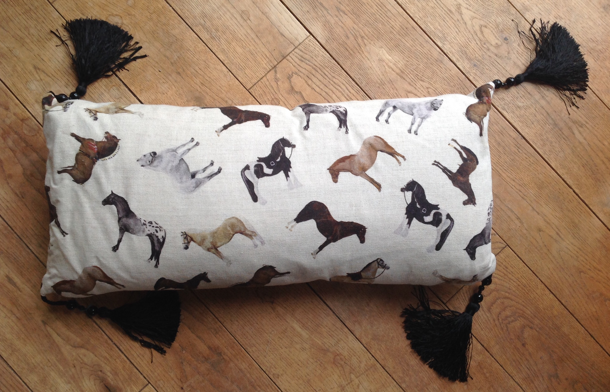 "Cushion cover - 12"" x 24"" Horse Breeds with black silk and bead tassles"
