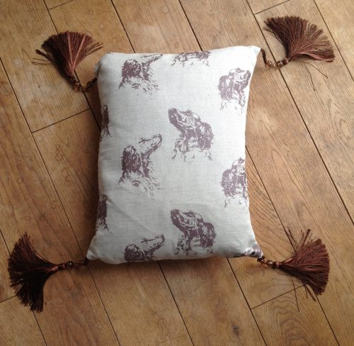"Cushion cover - 13"" x 17"" Spaniels' heads with chocolate silk and bead tassles"