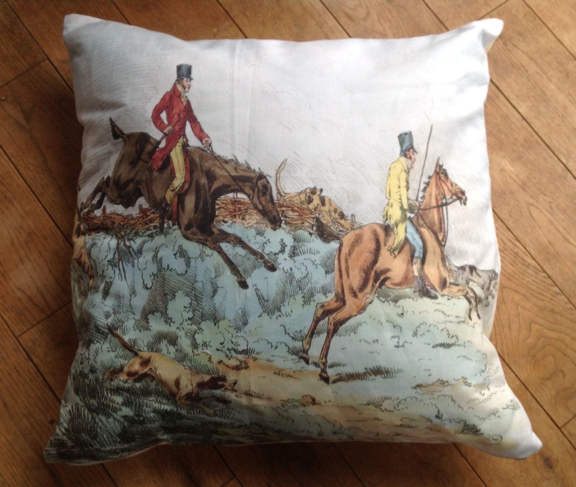 """Cushion cover - 24"""" Victorian Hunting Scene hedge hopping"""