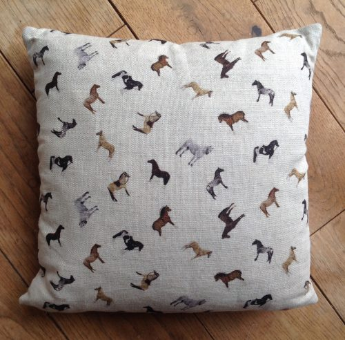 "Cushion cover - 12"" mini horse breeds scatter print"