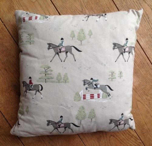 "Cushion cover - 12"" Hold Your Horses print"