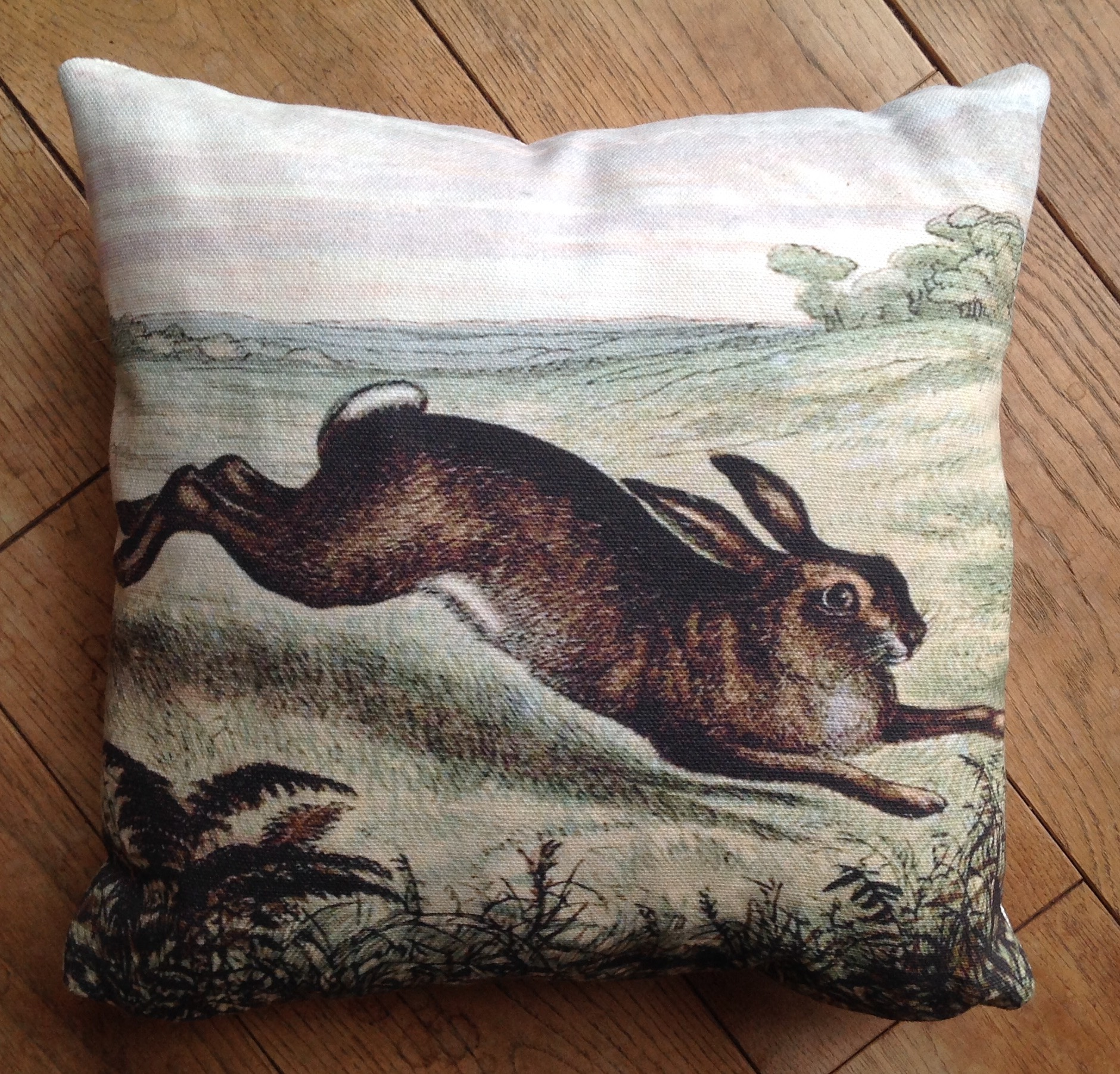 "Cushion cover - 24"" running hare"