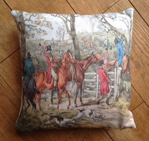 "Cushion cover - 24"" Victorian Hunting Scene at a gate"
