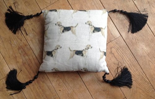 "Cushion cover - 12"" Hounds with black silk and bead tassles"