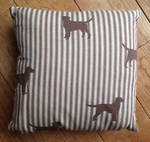 "Cushion cover -12"" Chocolate labradors on ticking stripe"