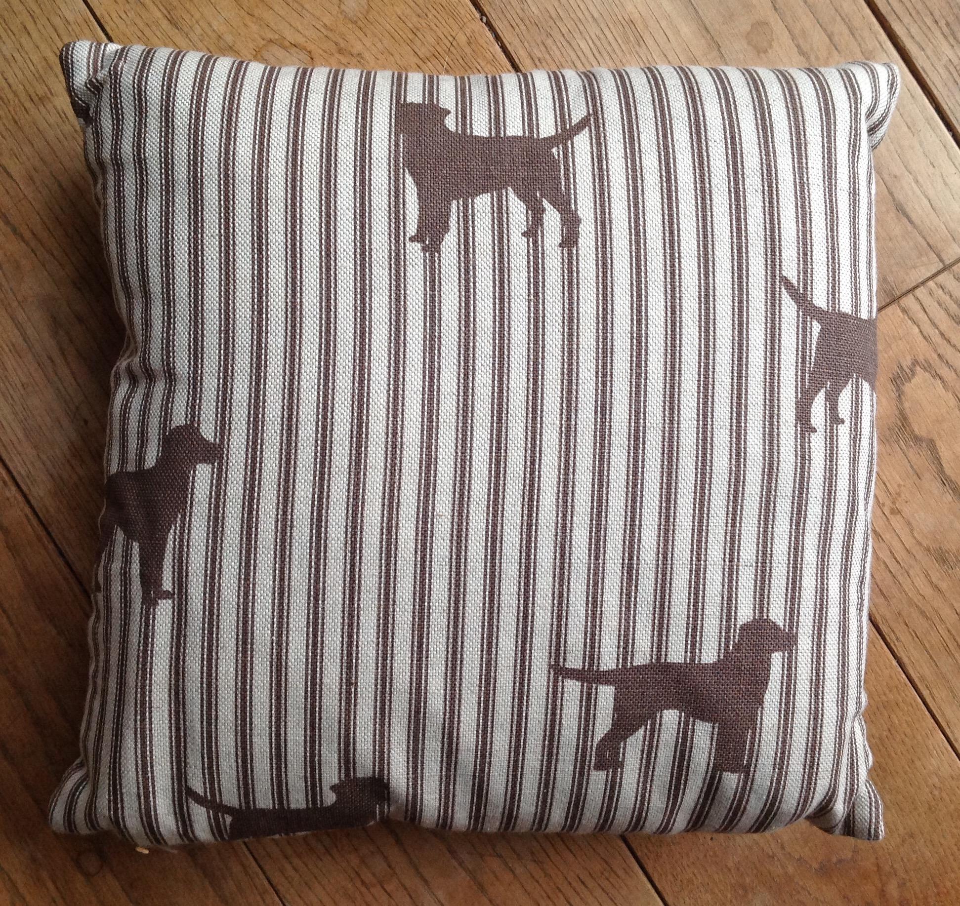 "Cushion cover -12"" Chocolate labradors on ticking stripe"