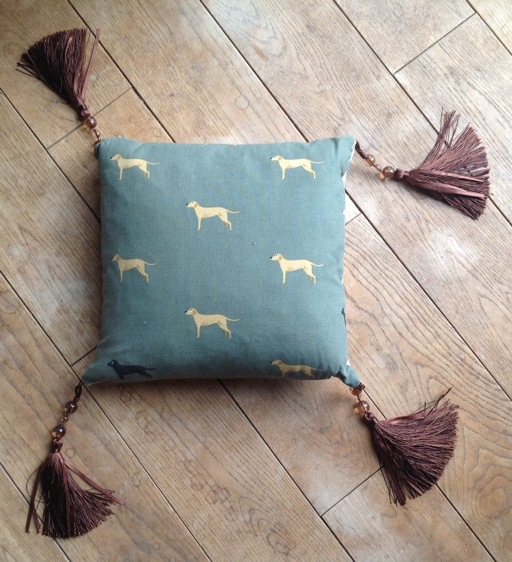 "Cushion cover - 12""Retrievers on green background with chocolate coloured silk and bead tassles"