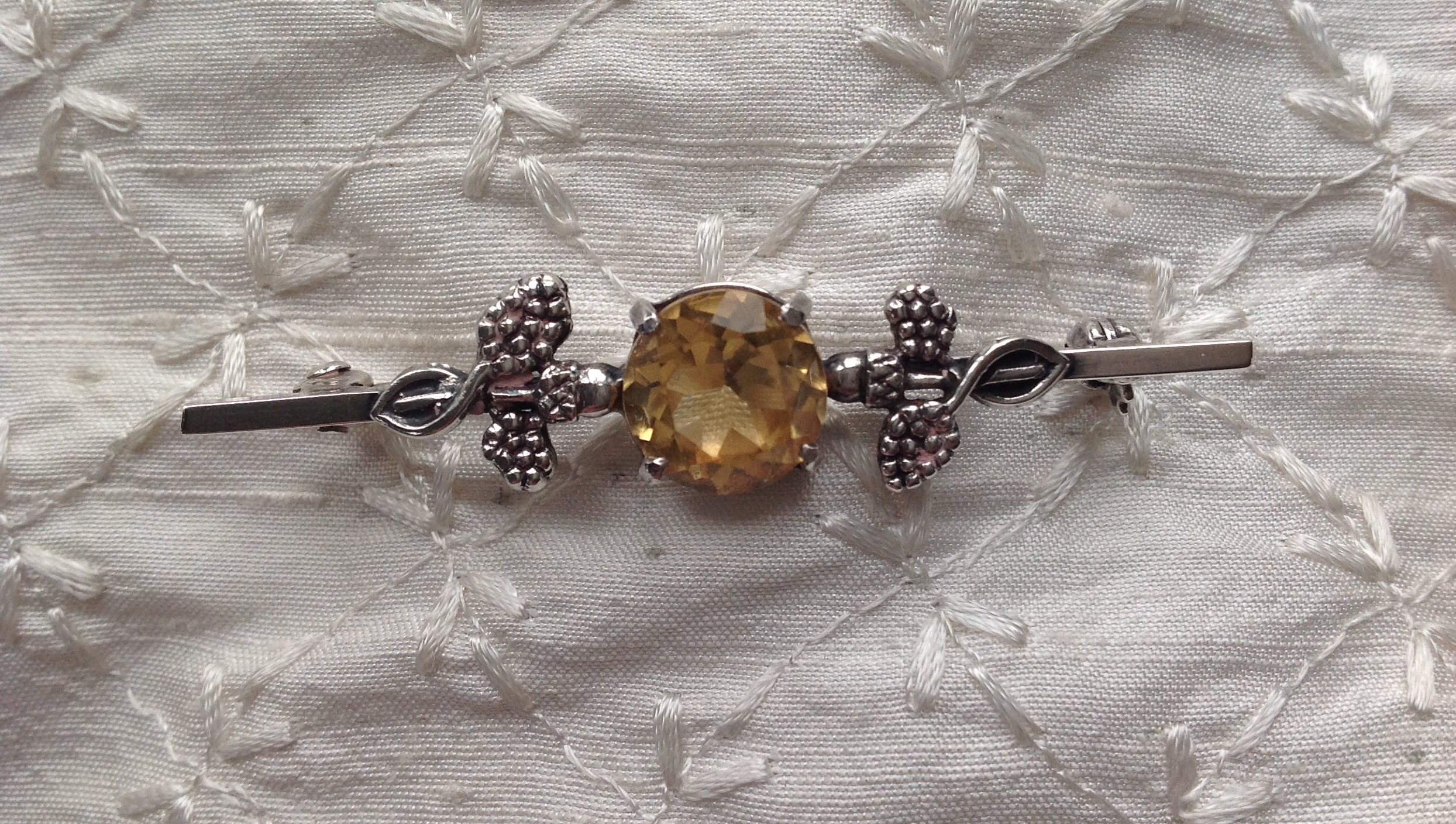 Vintage Art Nouveau silver and citrine stock pin