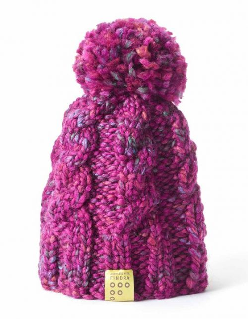 Findra cable bobble hat in winter rose