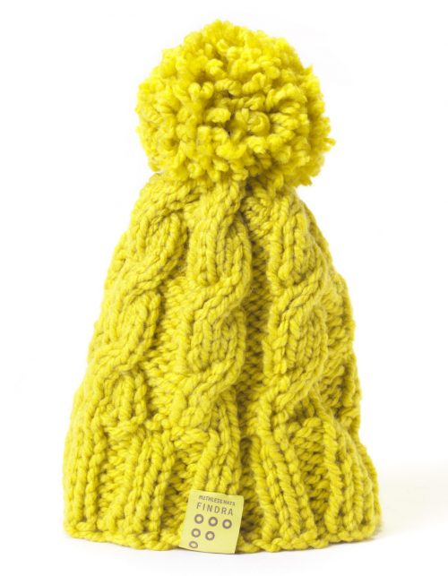 Findra cable bobble hat in ochre