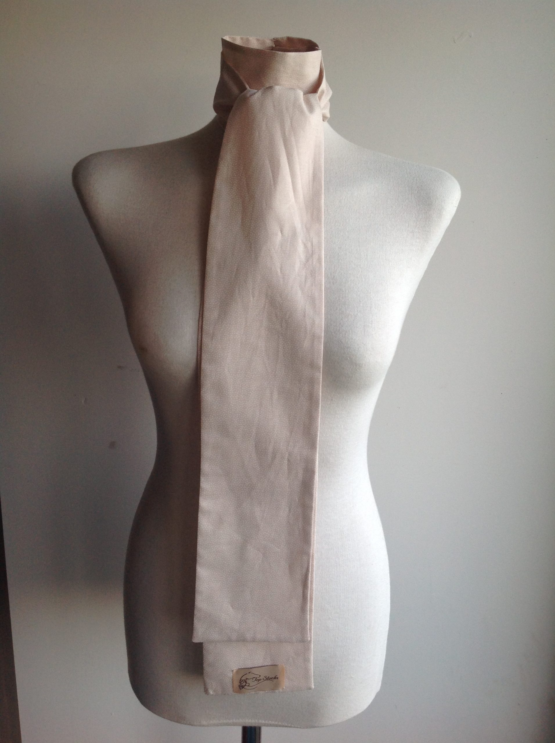 Shaped to tie 100% cotton stock - blush pink with white mini random polka dots