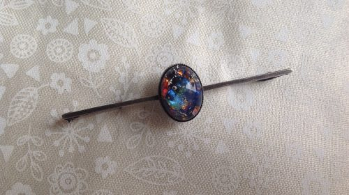 Vintage sterling silver and multicolour foil stock pin