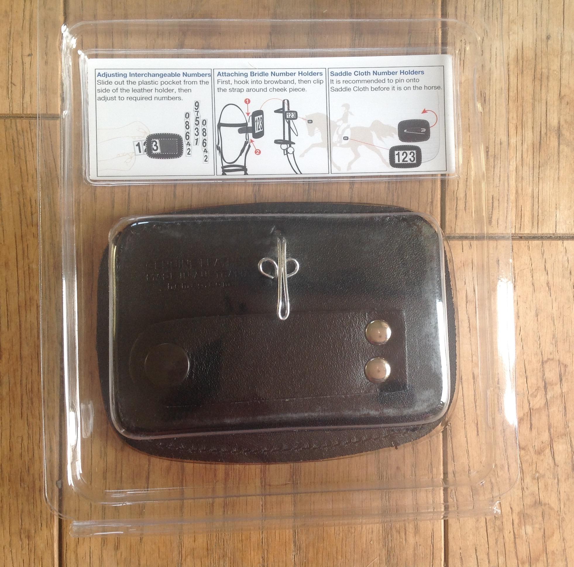 Hamag leather bridle number holder black rectangular
