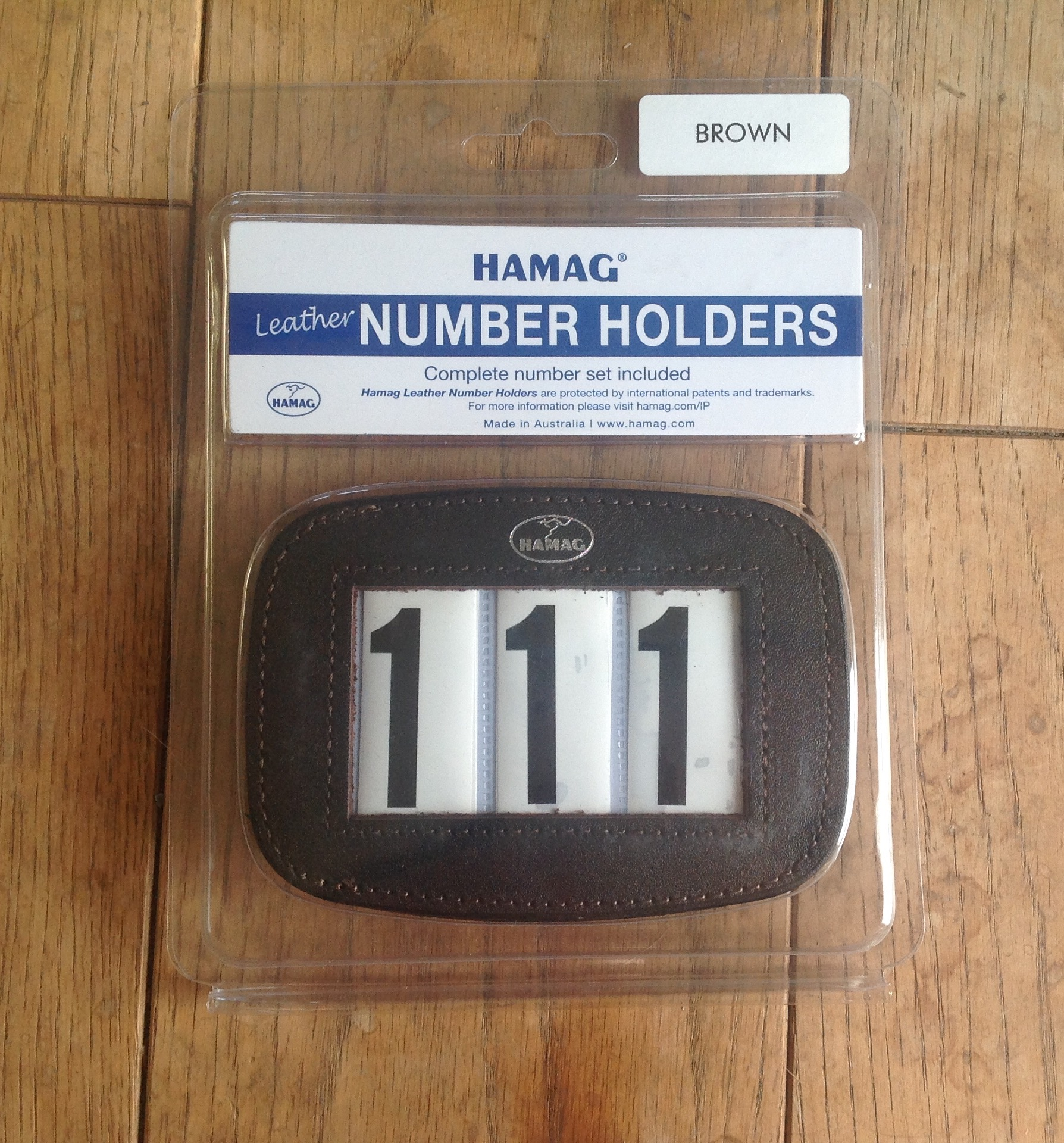 Hamag leather bridle number holder brown rectangular