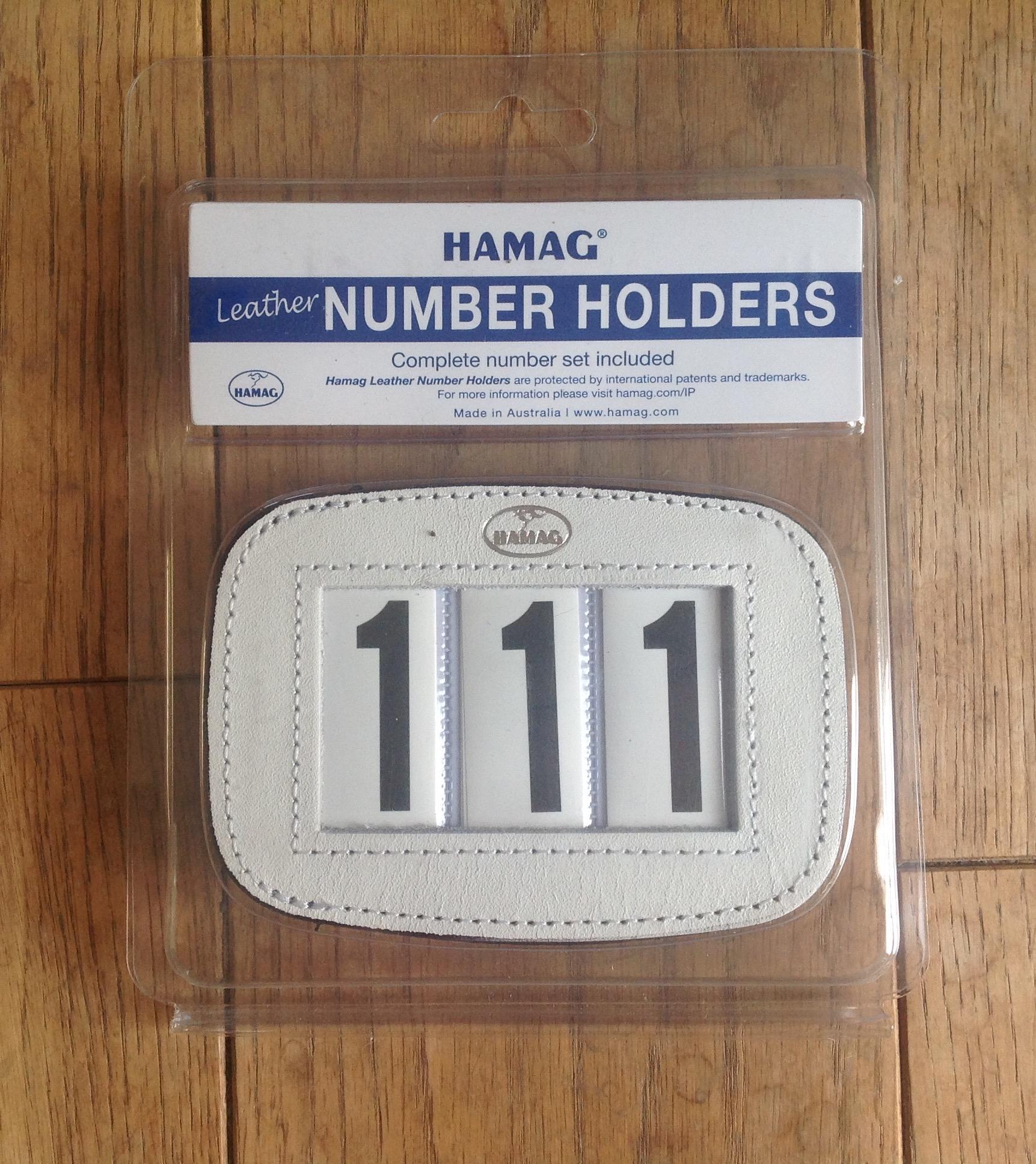 Hamas leather bridle number holder white rectangular
