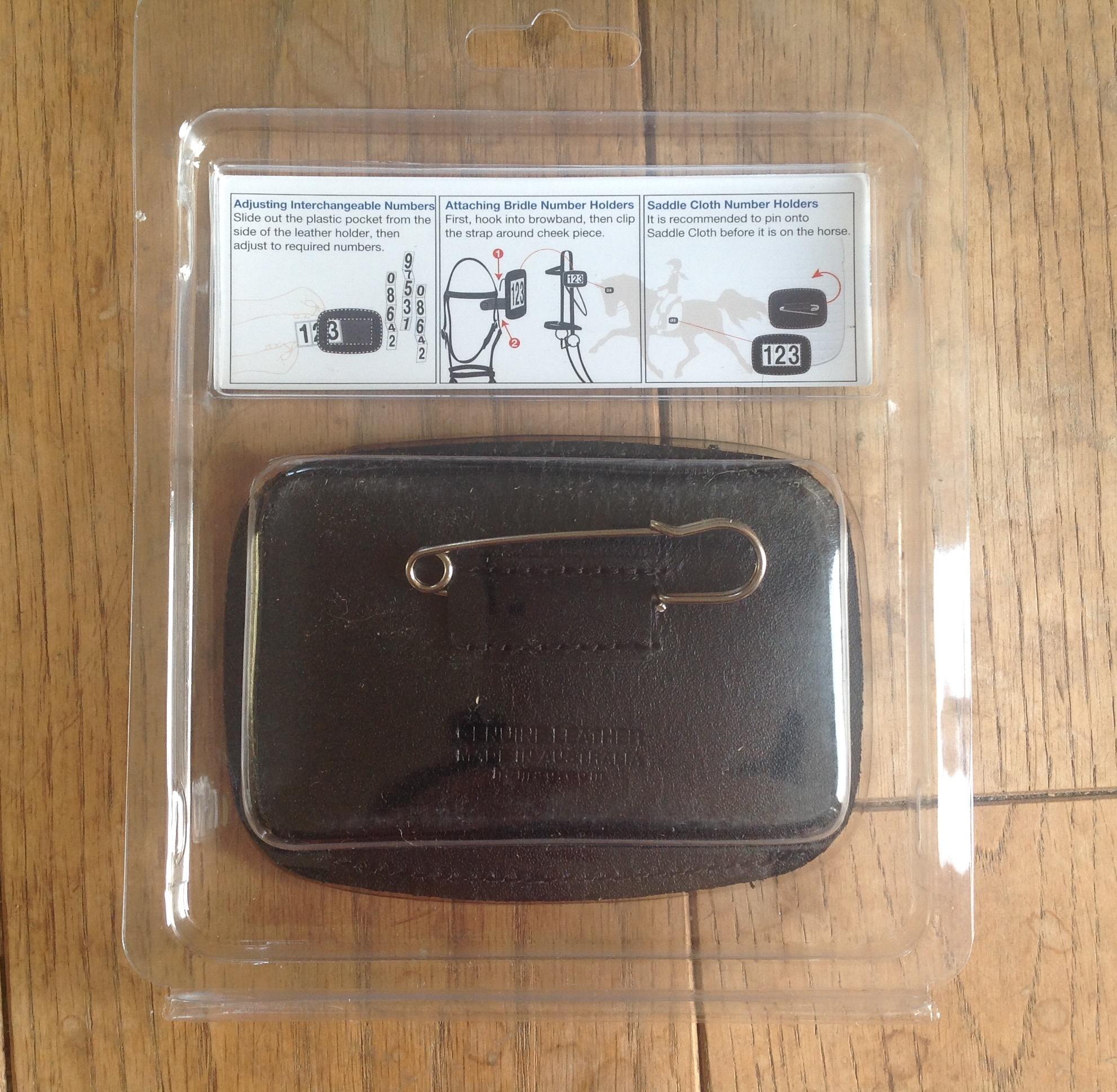 Hamag leather saddle number holder white rectangular