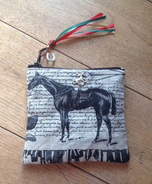 Coin purse - Thoroughbred and jockeys design