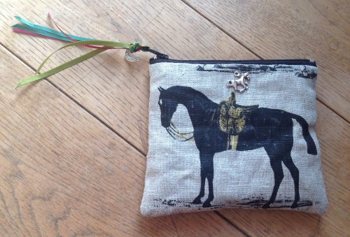 Coin purse - Spanish black horse and jockeys design