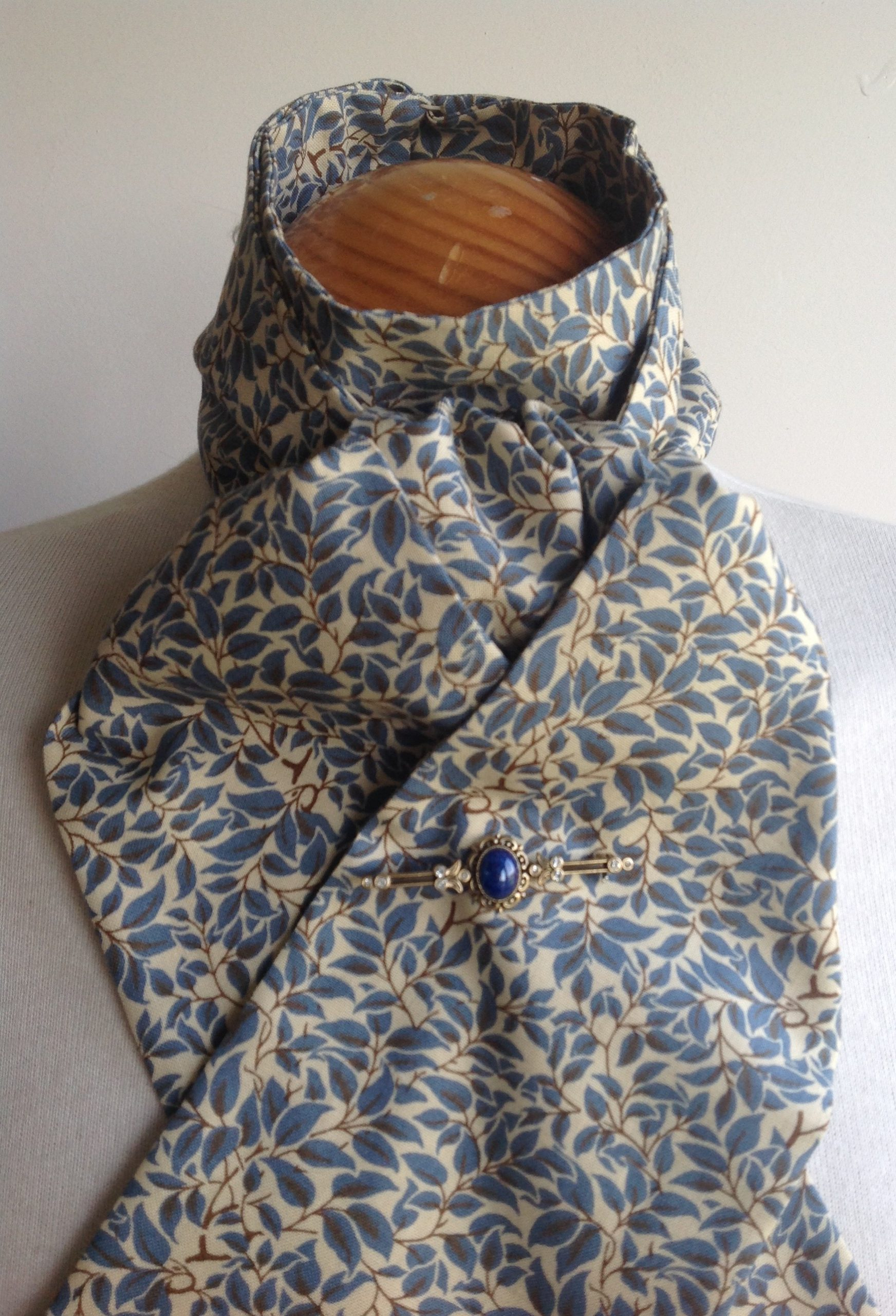 Shaped to tie 100% cotton stock - Voysey blue leaves