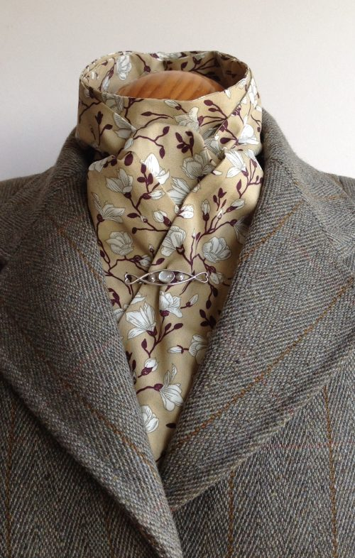 Shaped to tie 100% cotton stock - Irises camel
